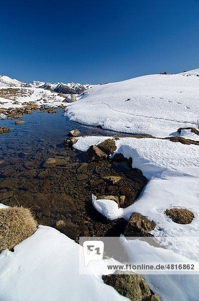 Snowed area of La Partacua  in Tena Valley  Huesca Pyrenees  Aragon Spain