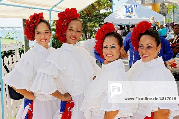 Local women welcome tourists and pose Samana Dominican Republic Hispaniola Southern Caribbean Cruise
