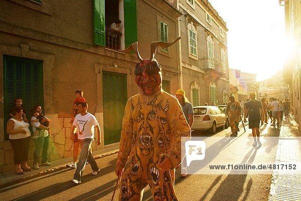 Devils during the festival of Sant Joan Sant Joan degollat Mallorca Illes Balears Es Pla Spain
