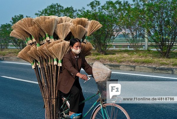 Woman on Bicycle in North Vienam with a load of Brooms on the Highway