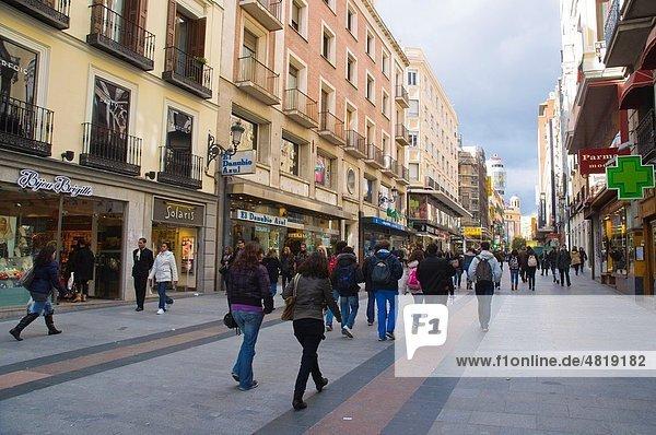 Calle de Preciados street central Madrid Spain Europe