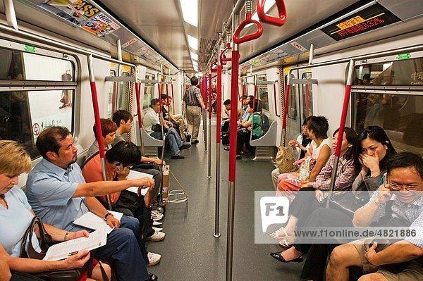 People traveling on the subway  Hong Kong  China