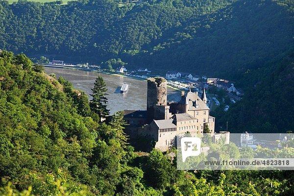 Europa  Deutschland  Rheinland-Pfalz  Blick auf Burg Katz am Rhein