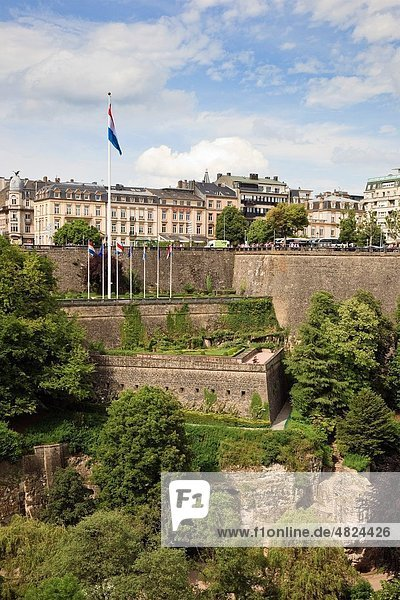 Luxembourg  Europe View across the Pétrusse valley to the city ramparts below Boulevard Roosevelt