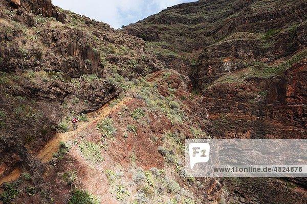 Spanien  Kanarische Inseln  La Gomera  Barranco de Guarimiar bei Alameda  Frau beim Bergwandern