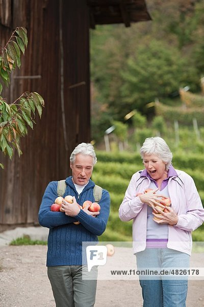 Italy  South Tyrol  Mature couple carrying apples  smiling