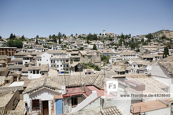 View of the ancient district Albaicin  Granada  Sierra Nevada  Andalucia  southern Spain  Europe