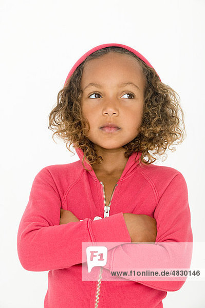 Portrait of girl wearing pink hooded top