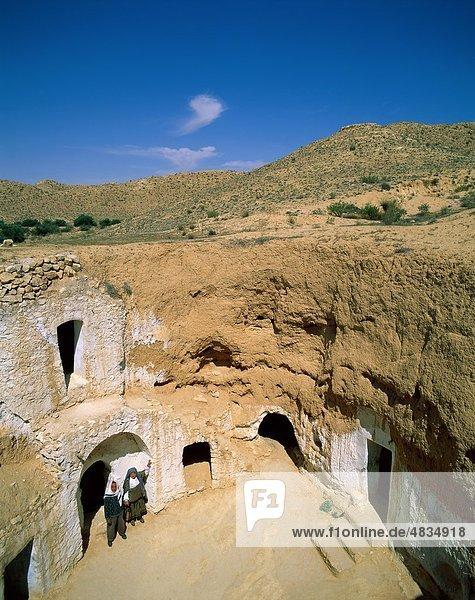 Höhlenmensch Mann Urlaub Gebäude Reise Unterführung Sehenswürdigkeit Afrika Tourismus Tunesien