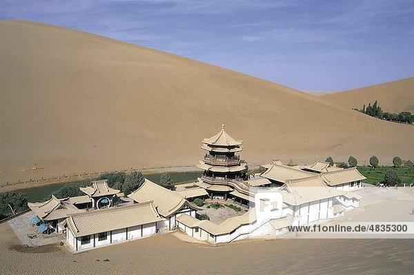 Architektur  Asien  China  Chinesisch  Cresent  Wüste  Dune  Dünen  Dunhuang  Gansu  Urlaub  See  Landmark  Mingshan  Mond  Moun