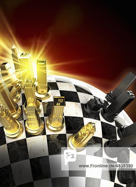 Schachfiguren in Form von Häusern auf Globus in Form eines Schachbretts