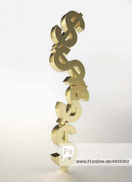 Balancierende goldene Dollarzeichen