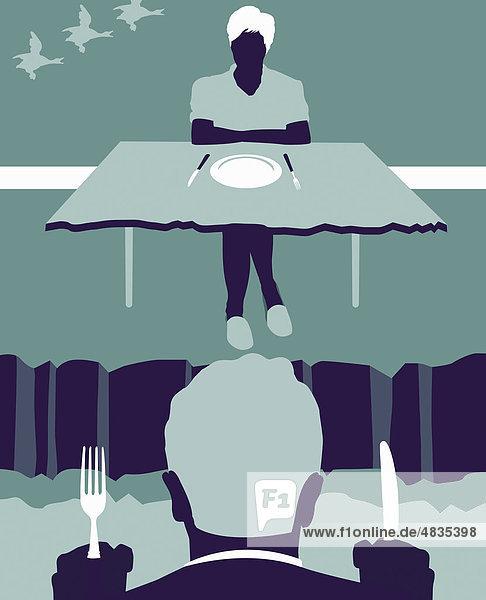 Paar an Esstisch mit Abgrund zwischen ihnen