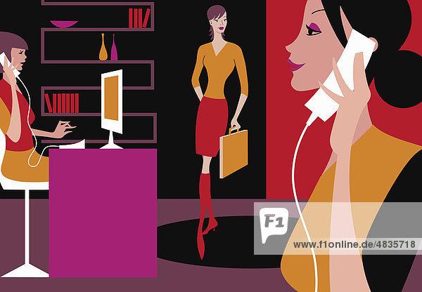 Beschäftigte Geschäftsfrauen im Büro