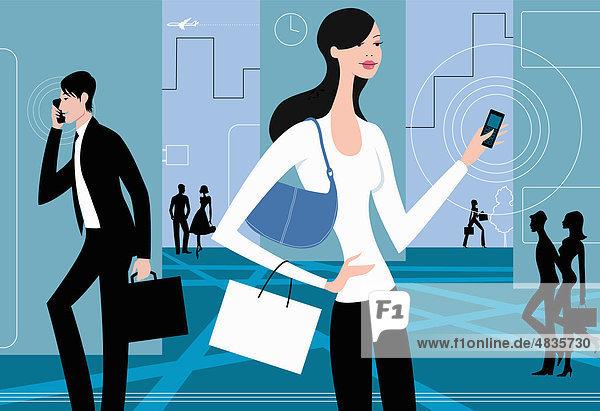 Beschäftigte Menschen mit Handies