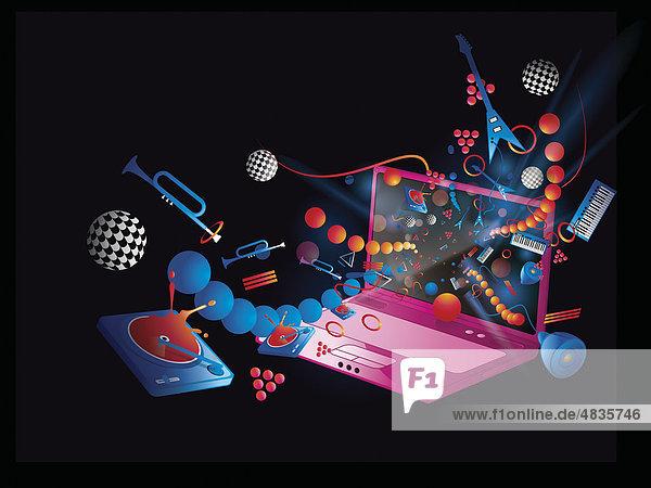 Laptop und Collage verschiedener Musikinstrumente