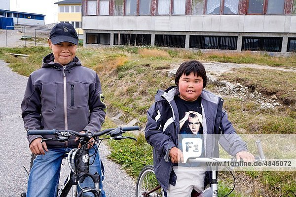 Boys on bicycles  Narsaq  South Greenland