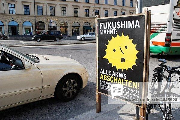 Poster  sprechen  Fukushima  Demonstration  München  Stärke