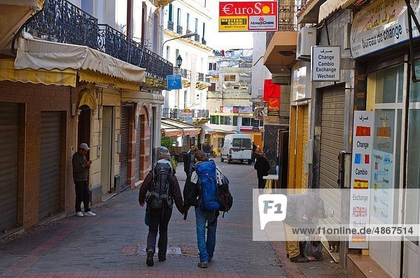 Rue as-Siaghin street Medina old town Tangier Morocco Africa