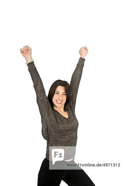 hoch  oben  Frau  lächeln  heben  Erfolg  weiß  Hintergrund  jung
