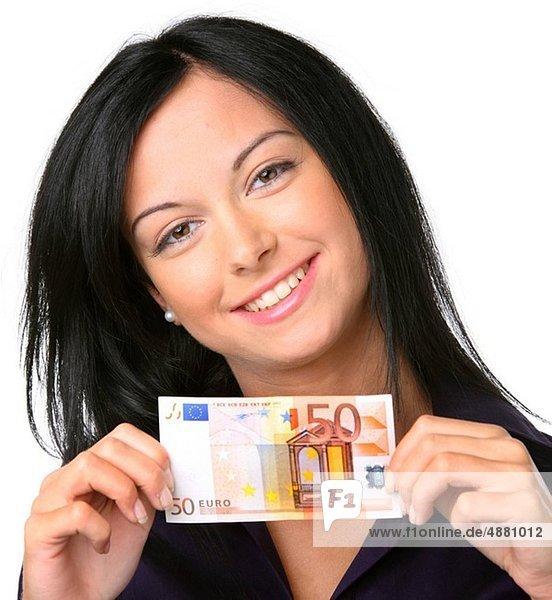 Geldschein  Frau  jung  Euro