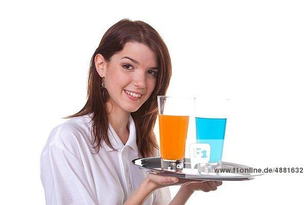 Frau  geben  Getränk  jung  Kellnerin