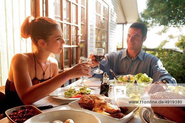 Abendessen  Sommer  Balkon  Romantik