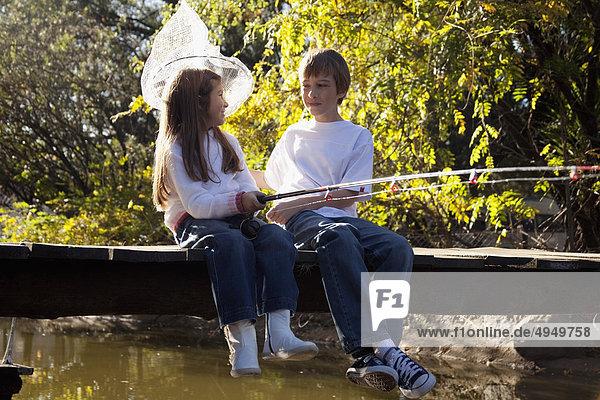 Junge - Person Schwester Fluss angeln Junge - Person,Schwester,Fluss,angeln