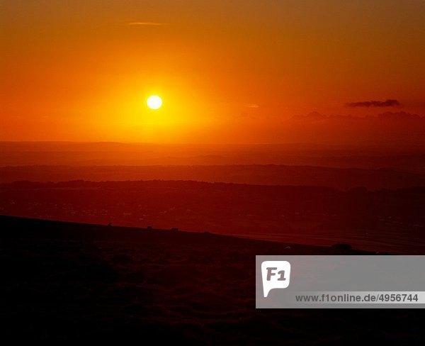 nahe  sehen  Sonnenuntergang  Großbritannien  Landschaft  über  Devon  England