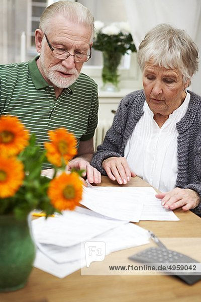 An elderly couple at home  Sweden.