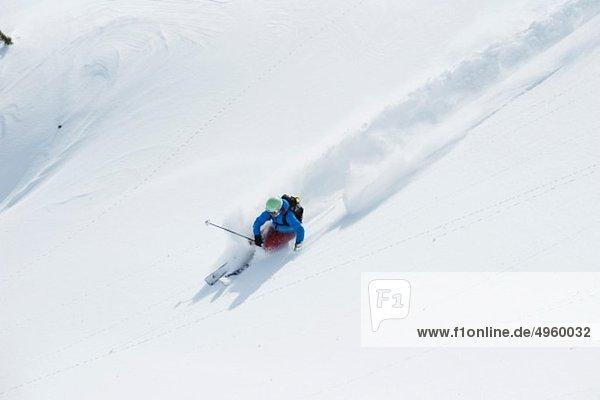 Austria  Kleinwalsertal  Woman skiing