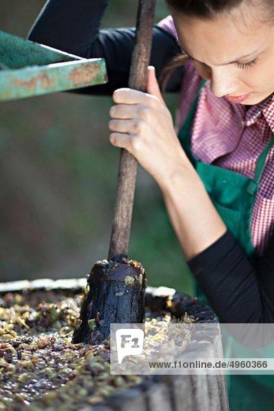 Kroatien  Baranja  Junge Frau beim Traubenpressen  Nahaufnahme Kroatien, Baranja, Junge Frau beim Traubenpressen, Nahaufnahme