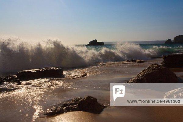 Portugal  Algarve  Sagres  View of waves breaking on Tonel beach