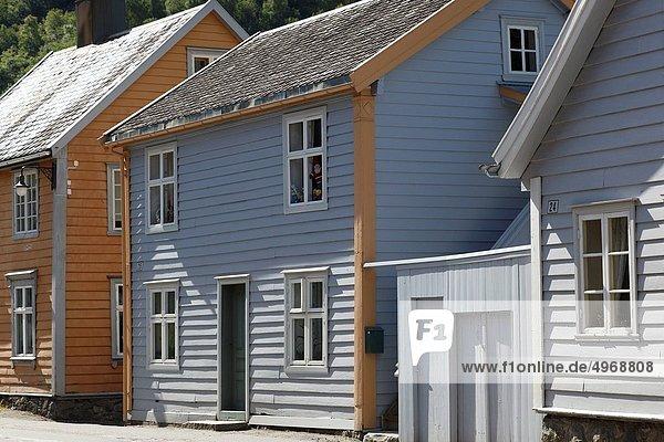 Farbaufnahme Farbe Blockhaus Holzhäuser
