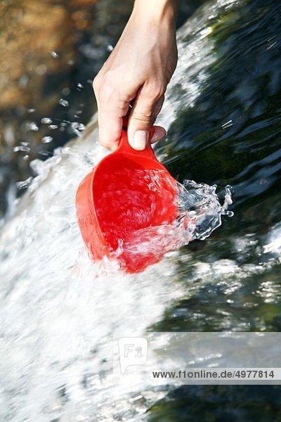 Wasser aus dem Wildwasser sammeln