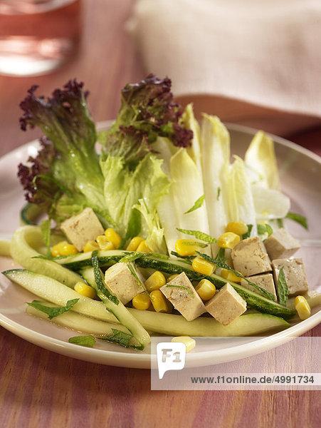 Chicorée  Cucmber und Tofu Salat
