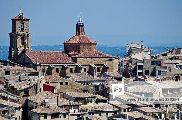 Panoramic views of Calaceite from San Miguel chapel Matarraña  Teruel Aragon Spain