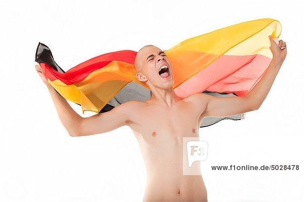 Fußballfan jubeln Ziel Fahne deutsch