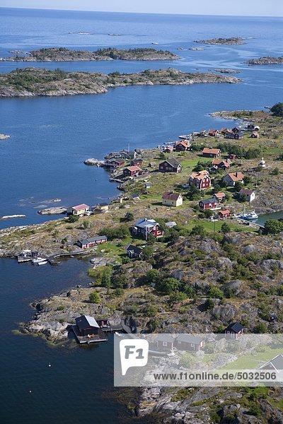 Küste Meer Dorf Ansicht Luftbild Fernsehantenne