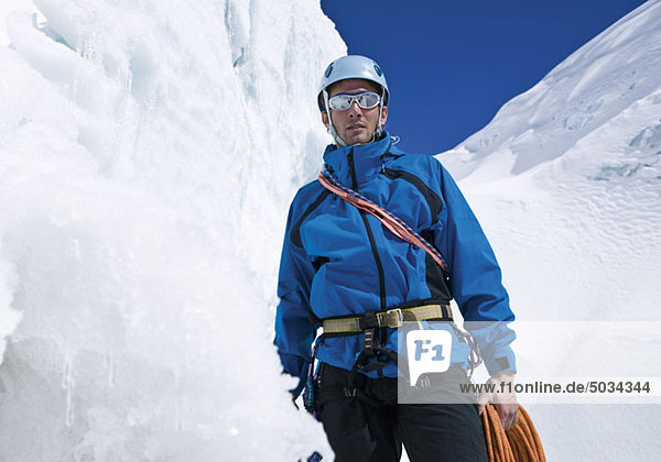 Portrait eines Eiskletterer