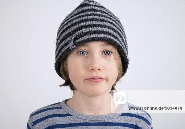 Boy wearing woolen hat