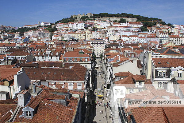 Portugal  Estremadura  Lisbon  View over baixa district with sao jorge castle in background