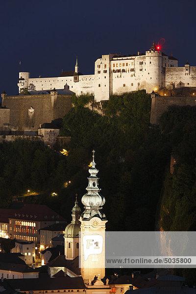 Austria  Salzburg  View of st peter church and hohensalzburg castle