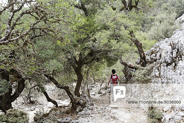 Griechenland  Kreta  Berg Ida  Zaros  Rouvas Schlucht  Reife Frau beim Wandern in der Nähe der Schlucht