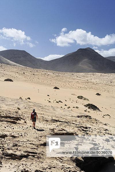 Spanien  Kanarische Inseln  Fuerteventura  Jandia  El Jable  Barlovento  Wandern durch die Sanddüne