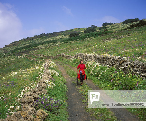 Spanien  Kanarische Inseln  El Hierro  Wanderin in La Dehesa