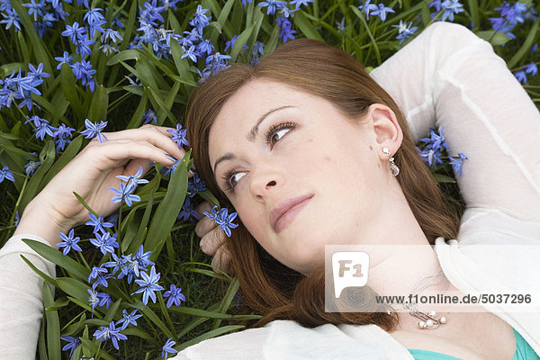 Rothaarige junge Frau liegen in einem Feld blau blumen  Whitby  Ontario  Kanada
