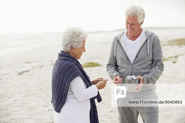 Seniorenpaar sammelt Muschel am Strand