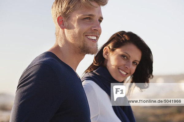 Close-up of a couple smiling