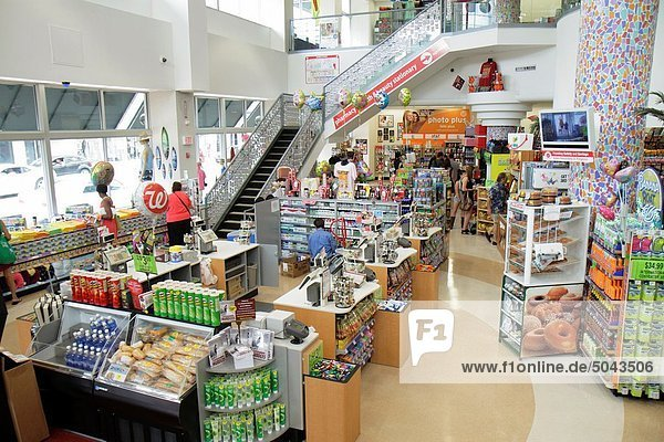 Florida  Miami Beach  Walgreens  pharmacy  drug store  overhead view  checkout counter